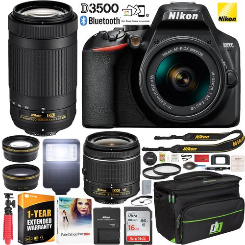 Nikon D3500 DSLR Camera w/ 18-55mm VR & 70-300mm Lenses + Accessory Bundle $400 + Free Shipping