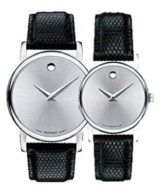Movado Museum Silver Dial Men's or Women's Watch w/ Black Leather Band $140 Each + Free Shipping