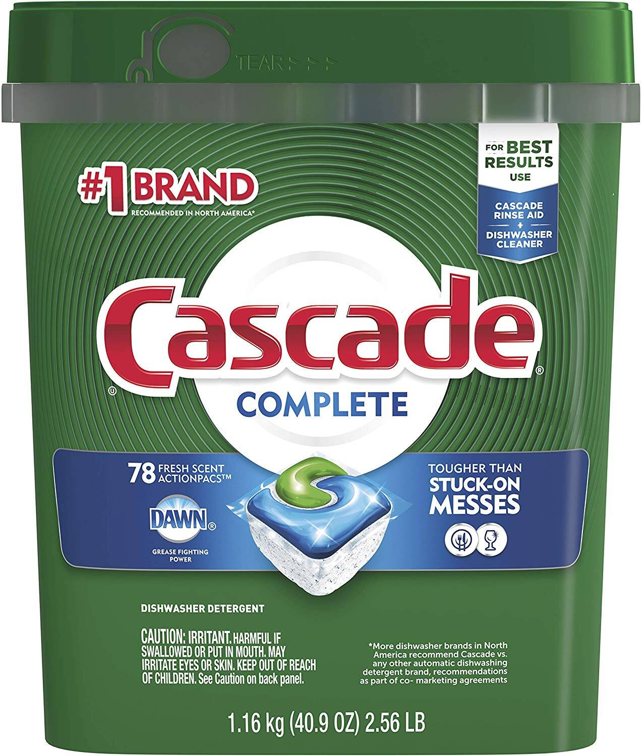 Cascade Complete Actionpacs Fresh Scented Dishwasher Detergent $9.52