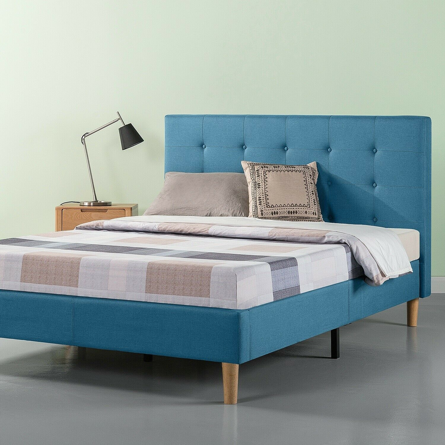 Zinus Upholstered Platform Bed Frame: King (Grey) $116 or Queen (Blue)