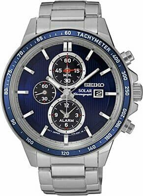 Seiko Men's Solar Chronograph Watch w/ Stainless Steel Bracelet (Blue or Red) $99 + Free Shipping