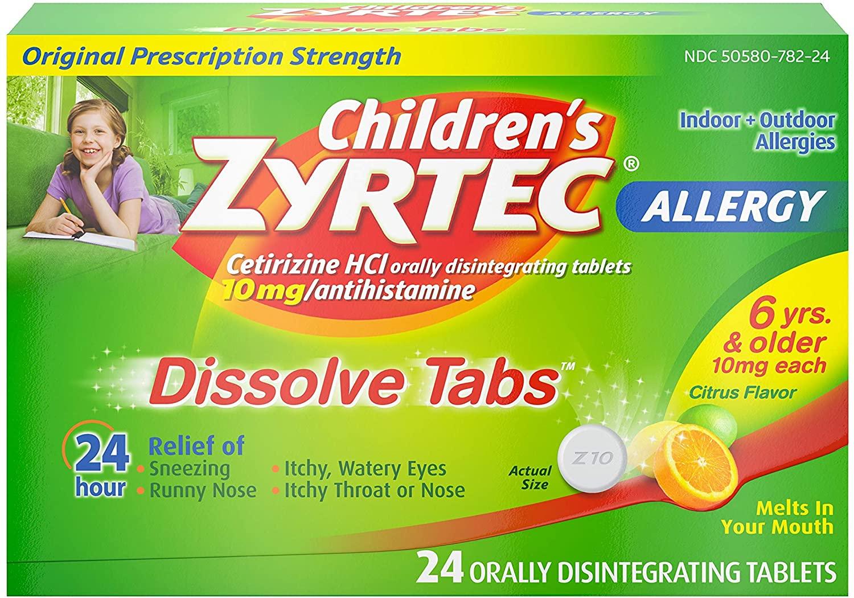 24-Count Children's Zyrtec 24 HR Dissolving Allergy Tablets (Citrus) $4.29 + Free S&H w/ Prime or $25+