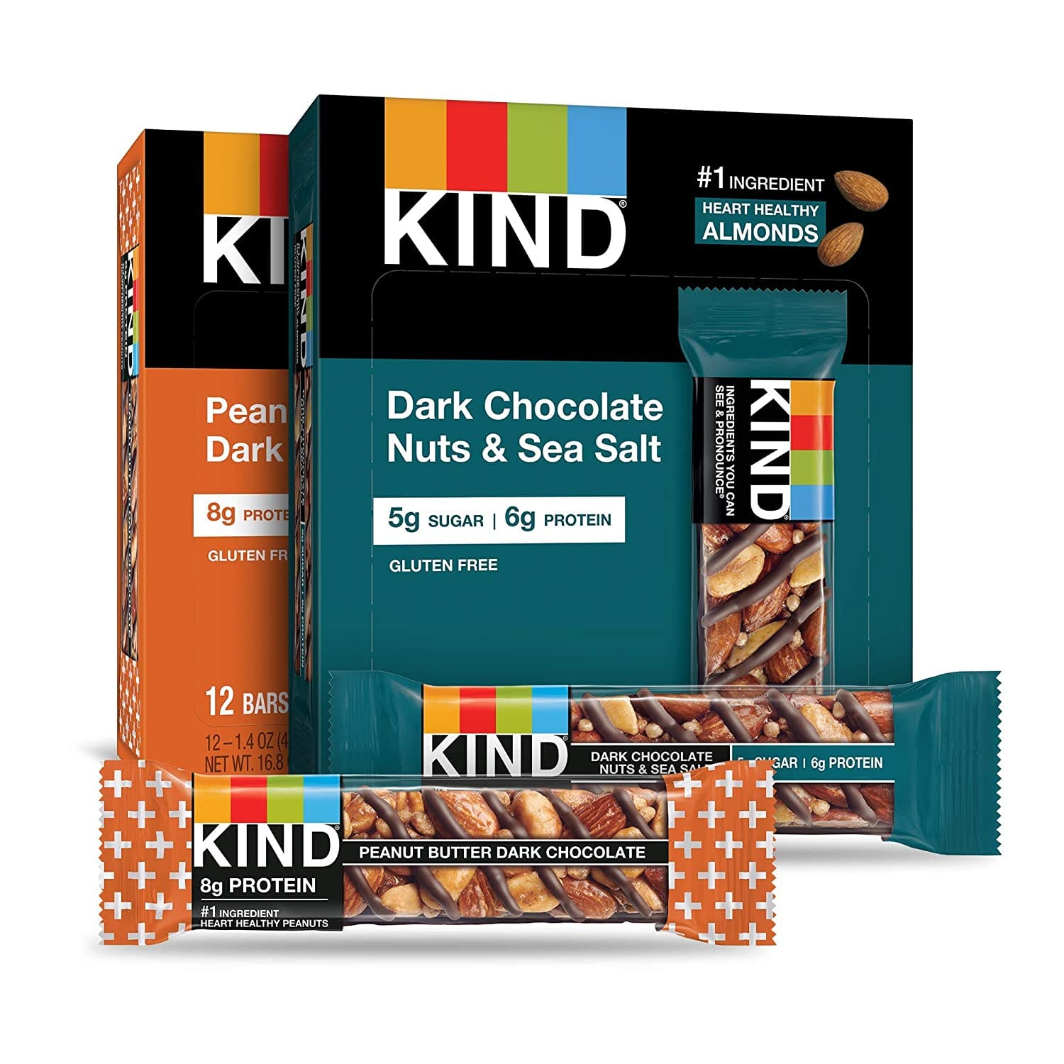 24-Count 1.4oz KIND Bars (12x Dark Chocolate Nuts & Sea Salt + 12x Peanut Butter Dark Chocolate) $17.10 w/ S&S + Free S&H w/ Prime or $25+