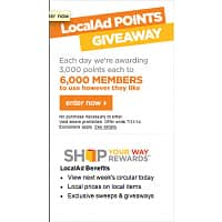 Kmart Deal: SEARS - KMART Local Ad Points - 3000 Points for first 6000 Members - Offer Ends 7/31