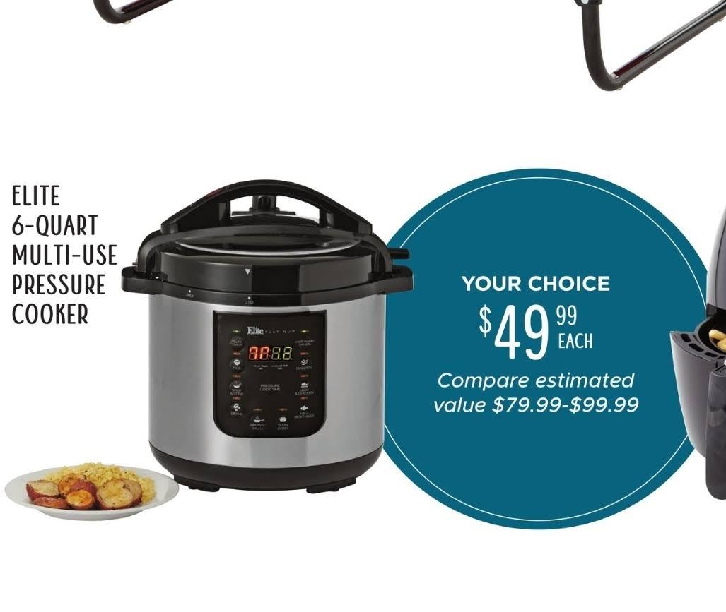Elite pressure cooker - 6 quart $49.99 @ Tuesday Morning