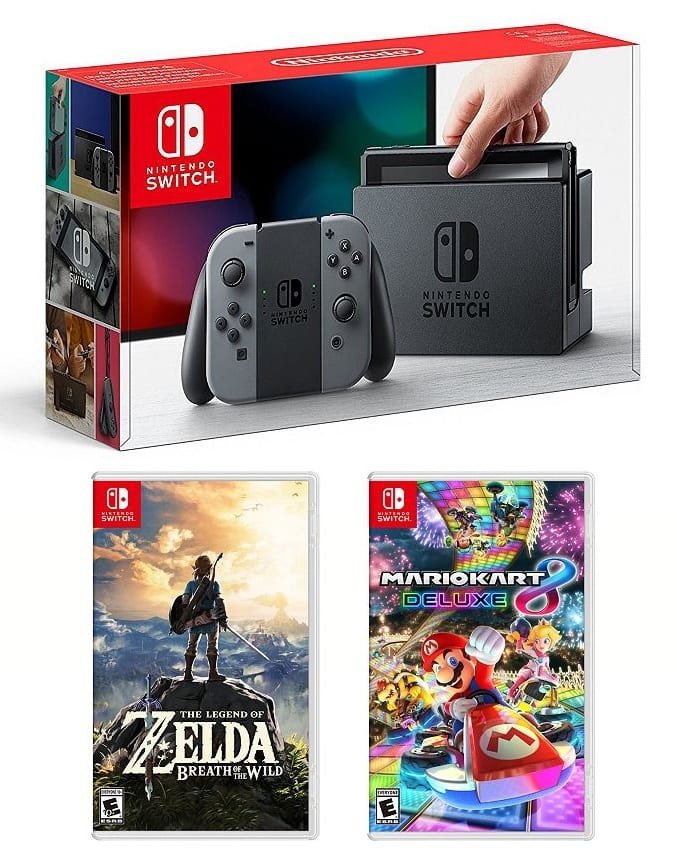 Nintendo Switch (Gray) Legend of Zelda Breath of the Wild & Mario Kart 8 Deluxe Bundle $420 @ Kohls