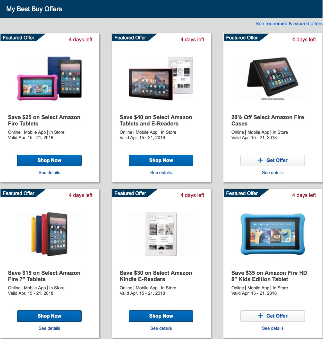 Amazon Fire Tablets Fire 7 $35, Kindle $50, Paperwhite $80 for My Best Buy Members YMMV