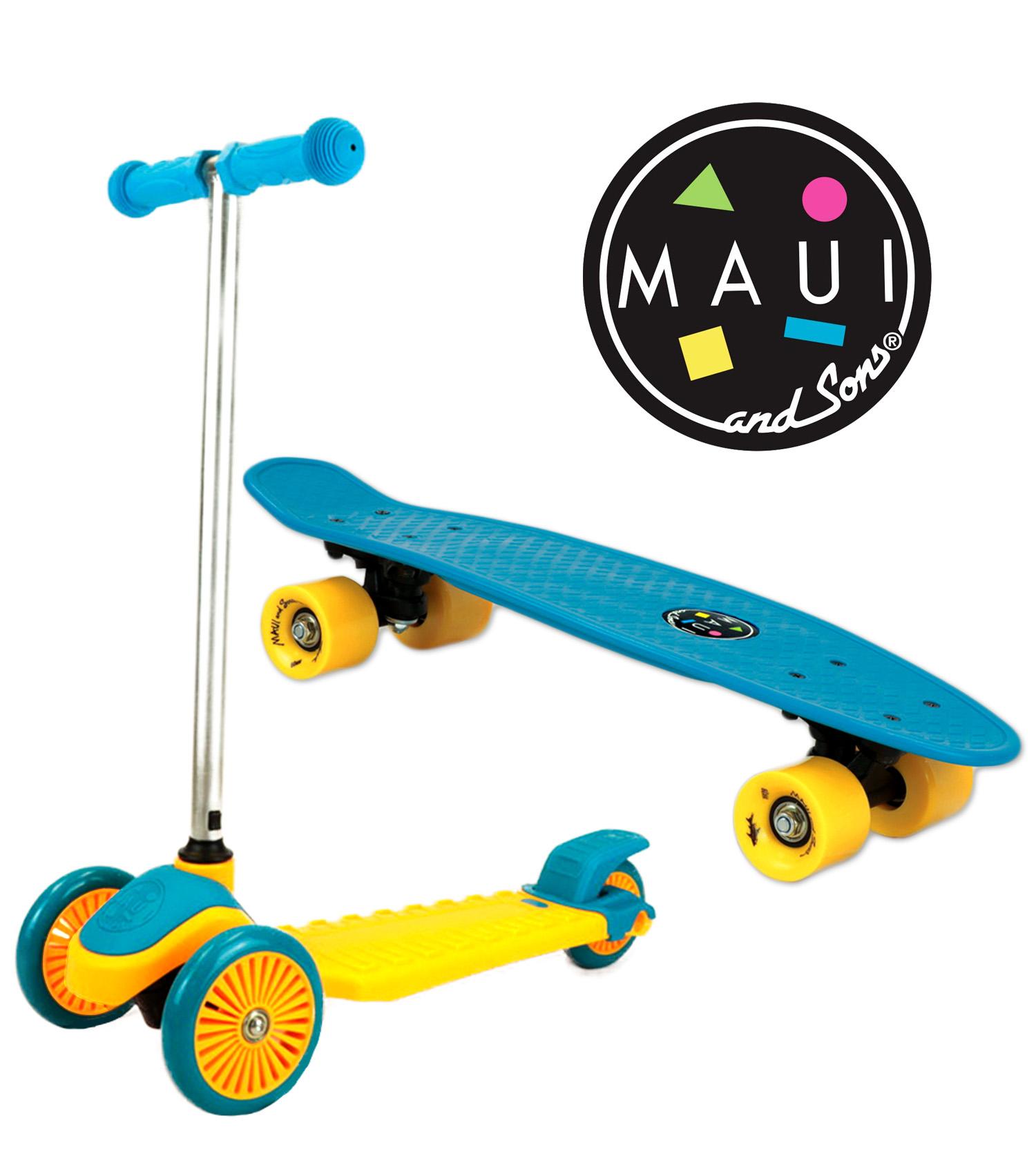 Maui and Sons Mini Sharkman Scooter and Skateboard Combo Set $26.95