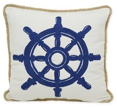Crewel Ship's Wheel Indoor/Outdoor Square Throw Pillow in Blue/White $11.99