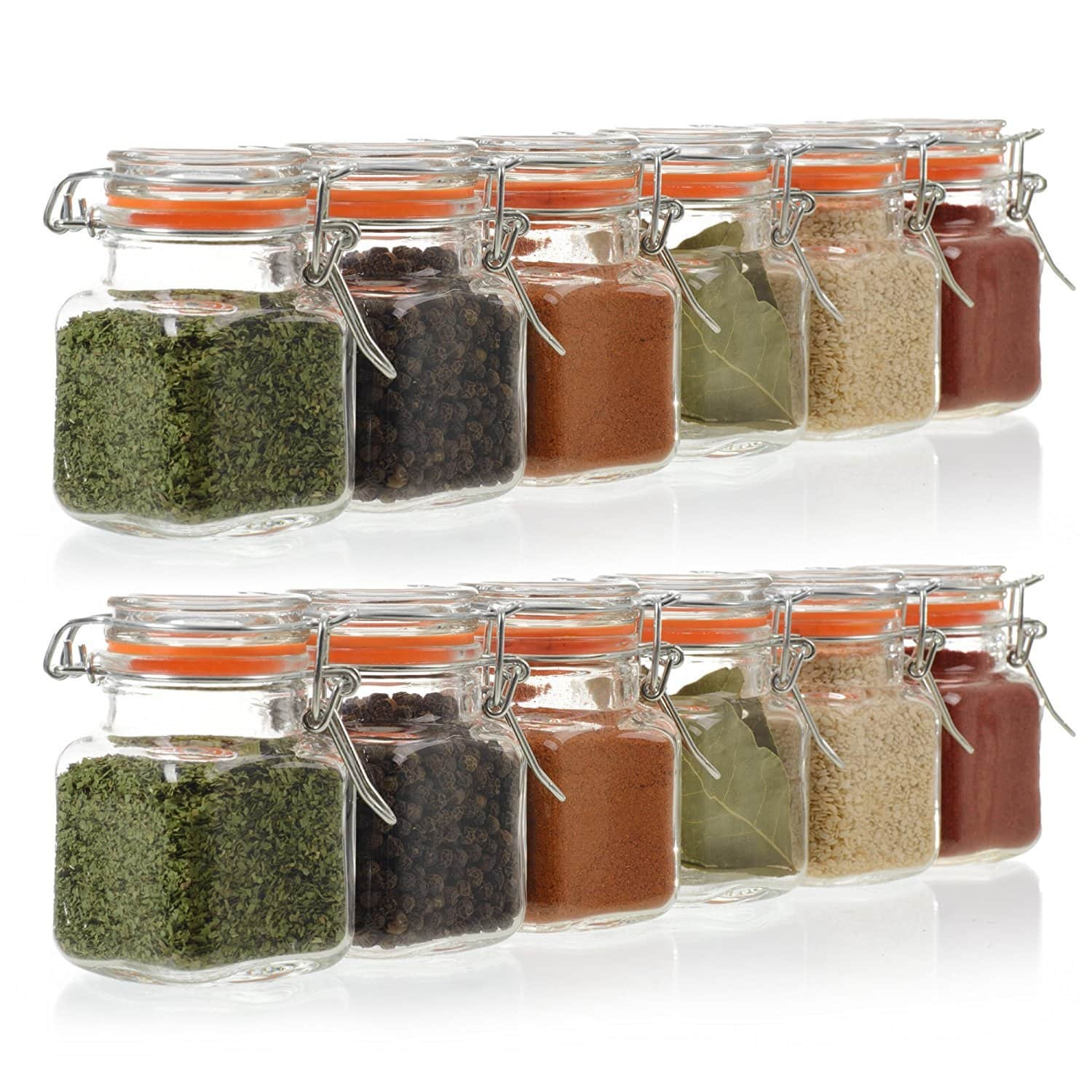 24 Pack - 3.4 Ounce Mini Square Glass Spice Jar with Orange Flip-Top Gasket $22.95