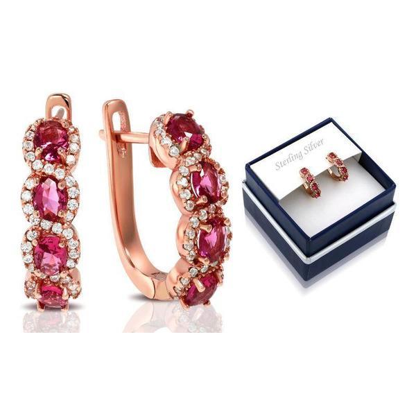 Created Ruby Gemstone Hoop Earrings in 18K Rose Gold Plate Over Silver $19.99