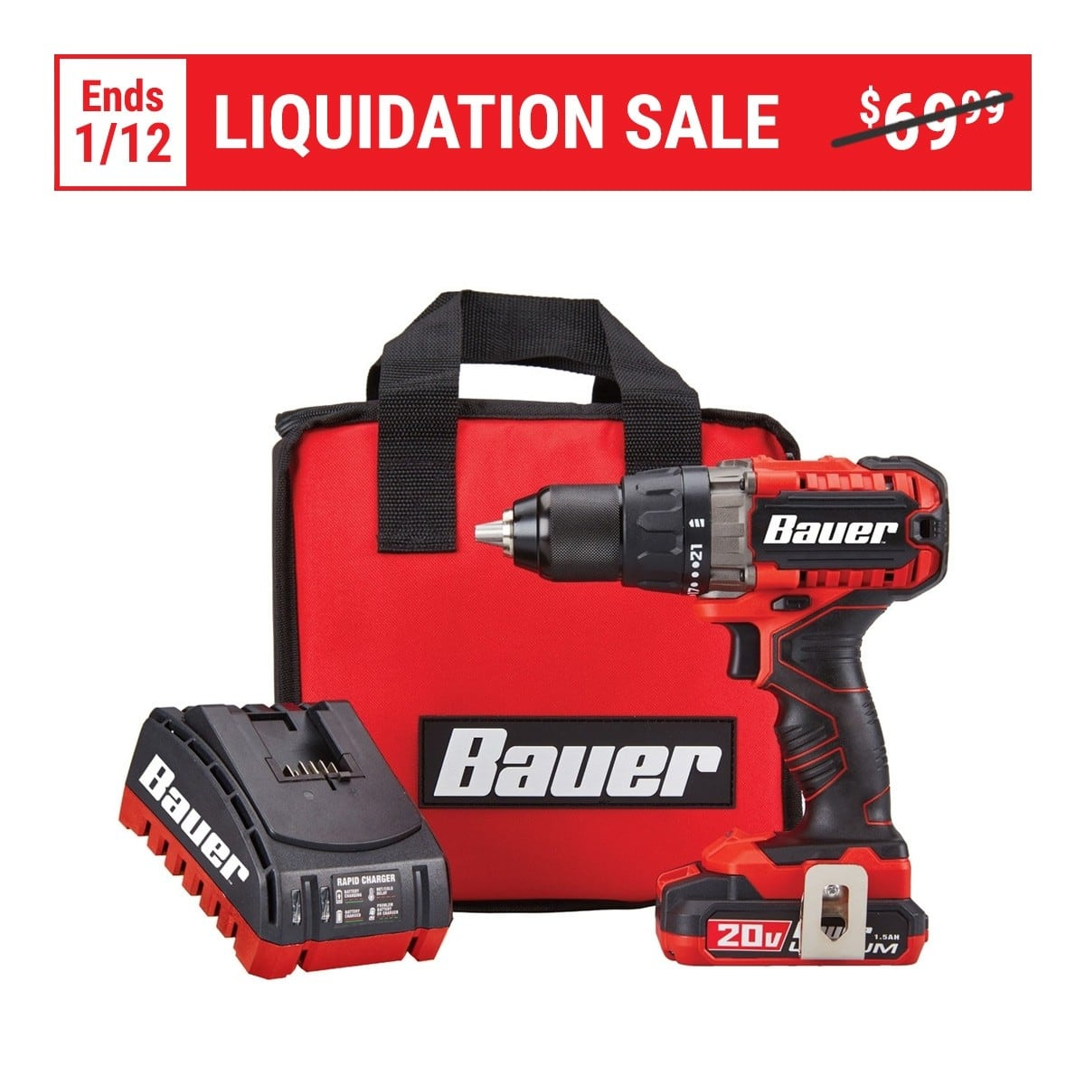 BAUER 20V Hypermax™ Lithium 1/2 In. Drill/Driver Kit $59.99