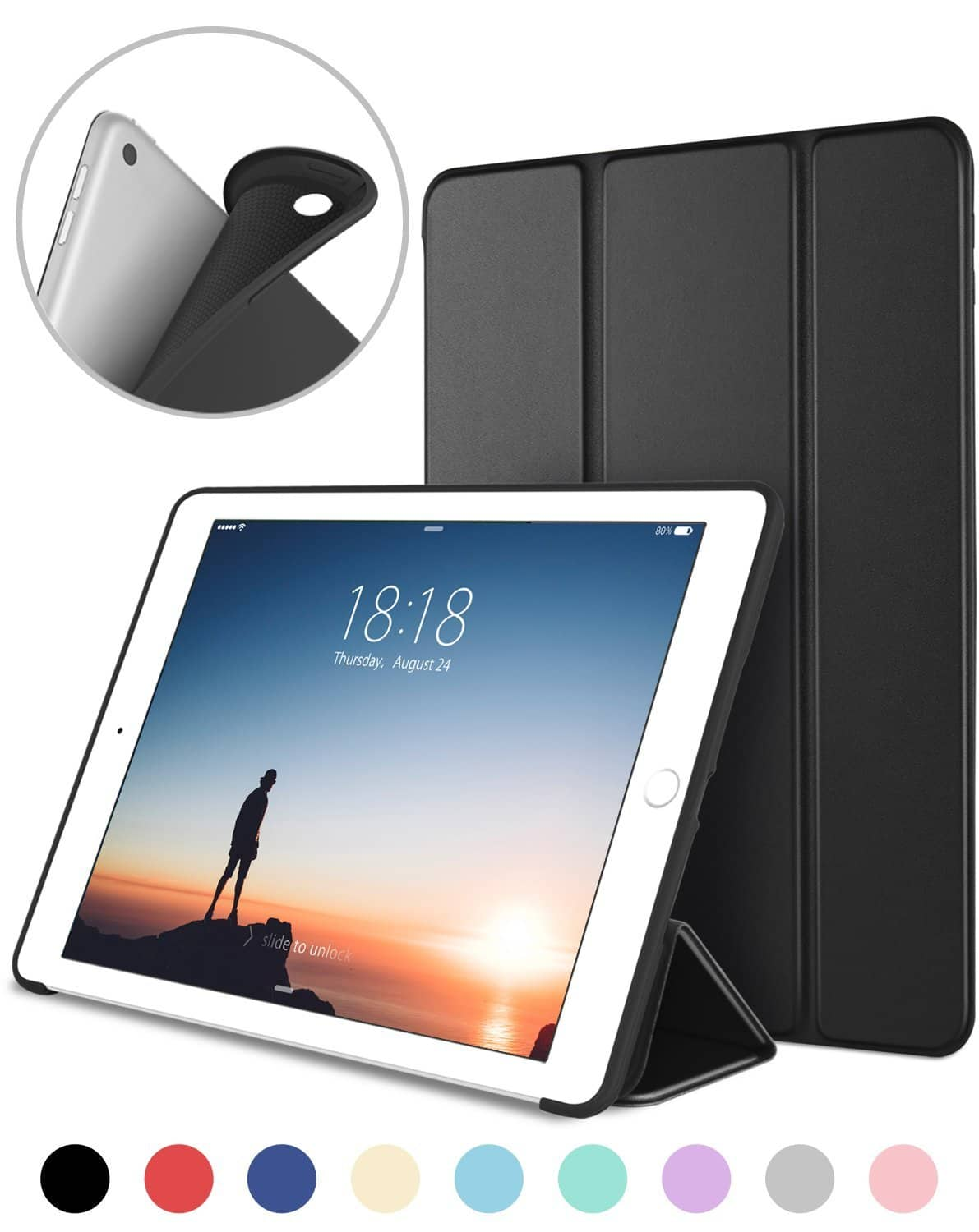 Slim Fit Lightweight Smart Cover with Soft TPU Back Case for iPad 9.7 2018/2017 from $4.94