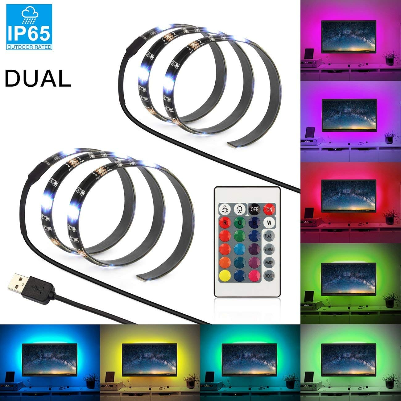 USB LED Strip Light, SHINE HAI 7.2W 2×1.64ft Dual Flexible Bias Lighting LED TV Backlight, Waterproof IP65 with 24 Keys RGB Control and 5V USB Connectors for HDTV Background $6.99