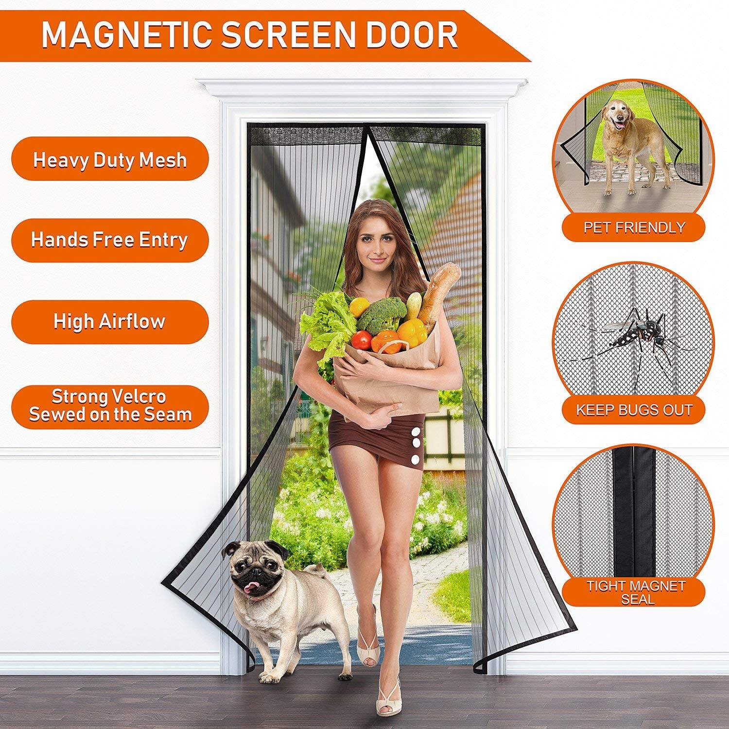WENFENG Magnetic Screen Door, Heavy Duty Mesh Curtain with Full Frame Velcro Fits Door Size up to 34 x 82 inch Max - Black $7.99