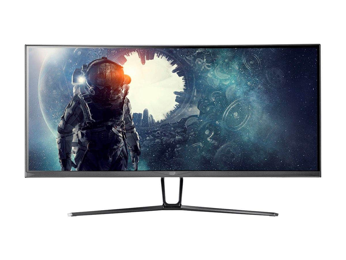 "Monoprice 35"" Curved Monitor - VA, 100 Hz, 3440x1440p - $359.99"