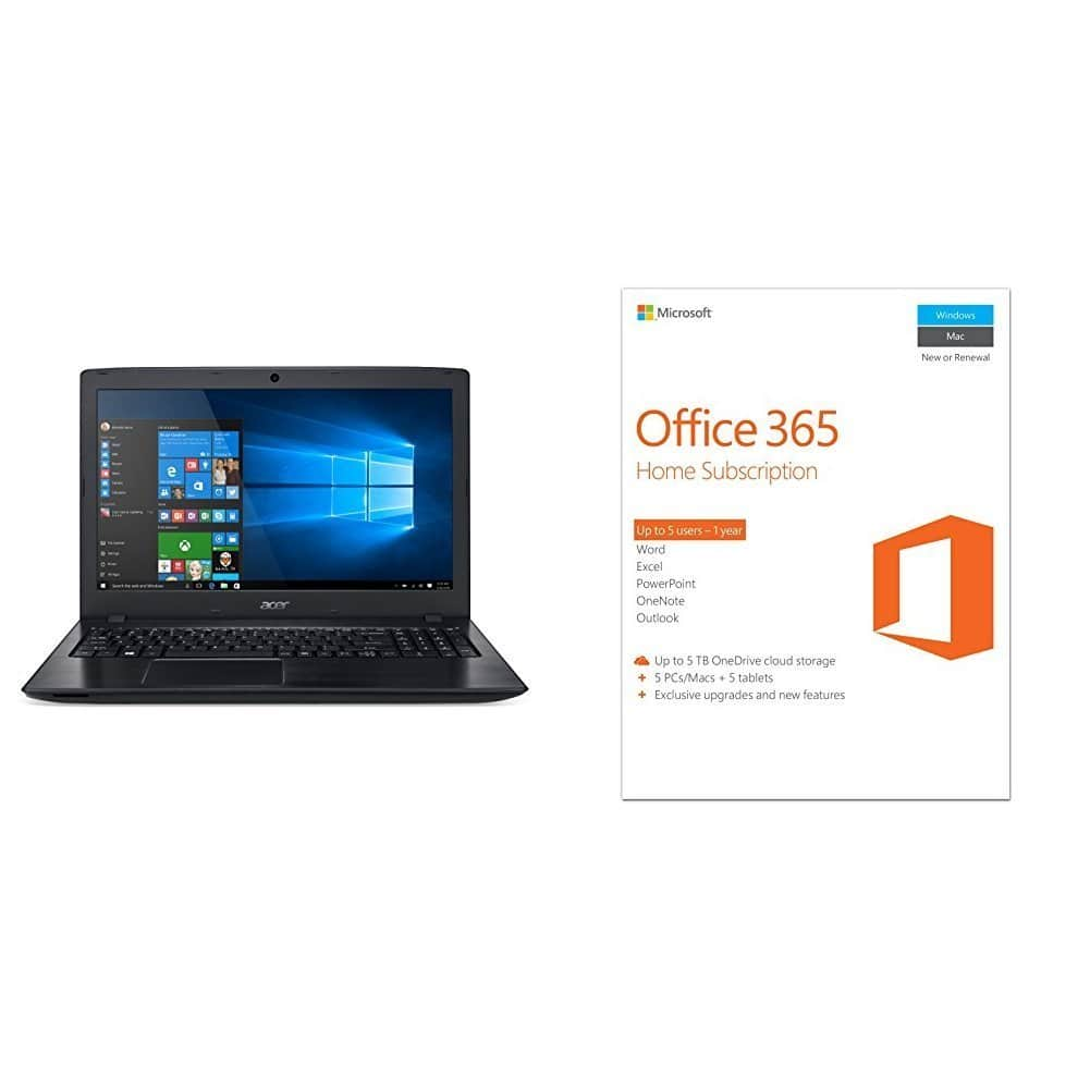 Acer Aspire E 15 E5-575-33BM 15.6-Inch Full HD Notebook + Microsoft Office 365 Home 1-year subscription (5 users) PC/Mac Key Card bundle $347 + Free Shipping