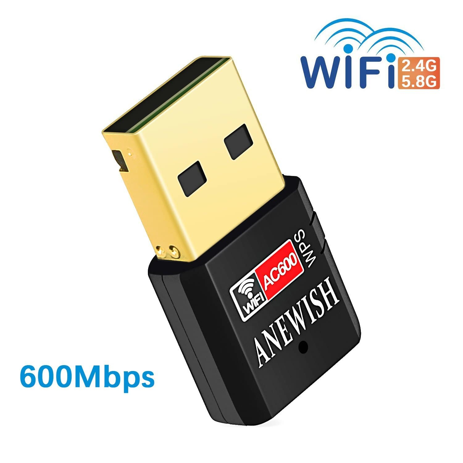 ANEWISH AC600Mbps Wifi Adapter 5G/2.4G Dual Band Mini USB Wifi Dongle $7.99