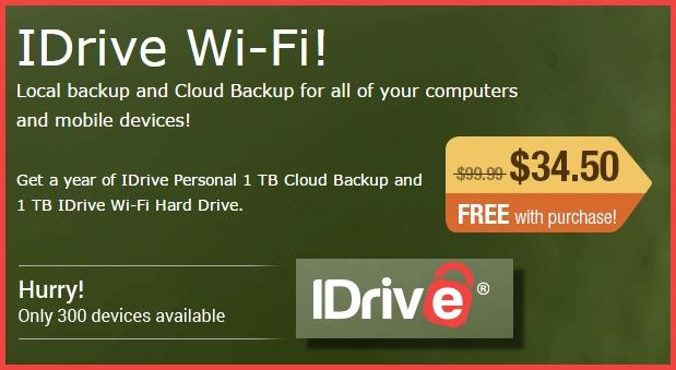 Wireless 1TB Hard Drive $34.50 + One year free 1TB cloud backup