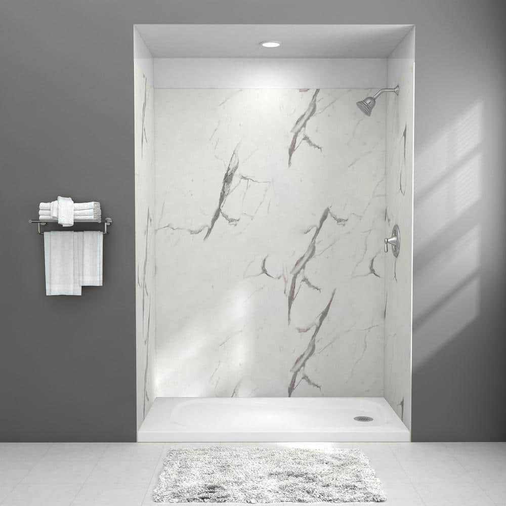 American Standard Passage 32 in. x 60 in. x 72 in. 4-Piece Glue-Up Alcove Shower Wall in Powder Marble $480