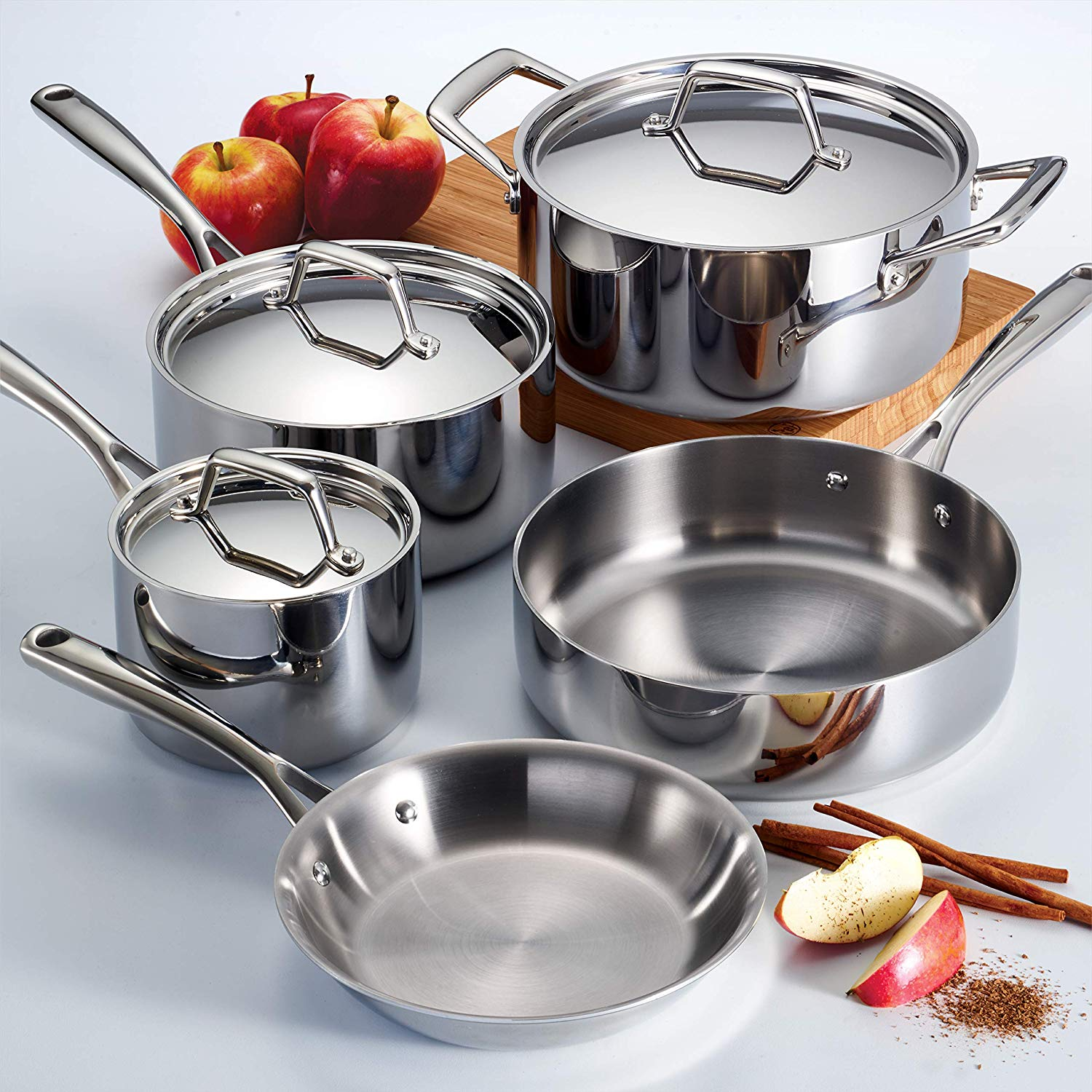 Tramontina Tri-Ply Clad Stainless Steel, 8-Piece set for $91
