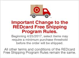 "PSA: Target REDcard free shipping to change 4-25-2017 - ""select items may require a minimum purchase"""