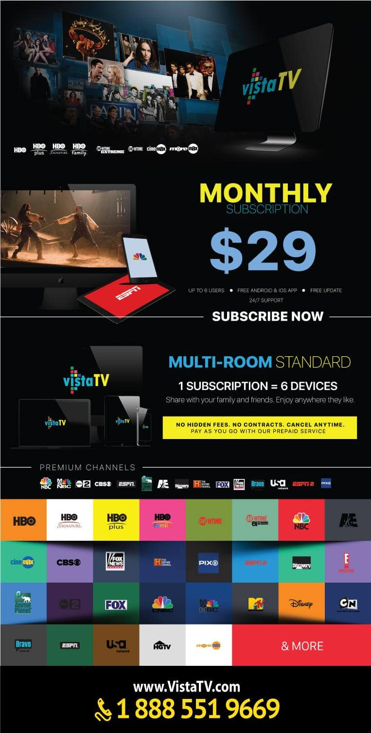 Premium TV no contracts includes HBO, Showtime, ESPN and many more $29