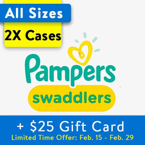 Buy 2 Pampers Swaddlers Diapers (Choose Your Size), Get $25 Gift Card