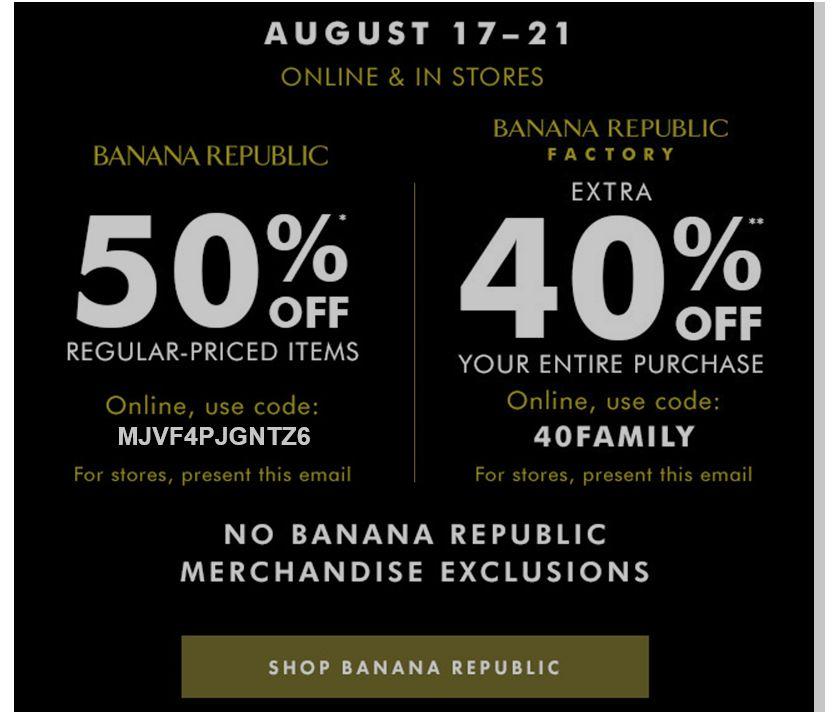 banana republic coupons 40 percent off