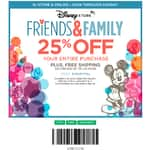 Disney store friends and family 25% off entire purchase online or in store