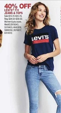 89aadc82194 Macy s Black Friday  Levi s  711 Jeans   Tops - 40% Off - Slickdeals.net