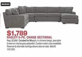 Macy S Black Friday Radley 5 Pc Chaise Sectional For 1 789 00