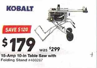 Enjoyable Lowes Black Friday Kobalt 15 Amp 10 In Table Saw W Folding Download Free Architecture Designs Scobabritishbridgeorg
