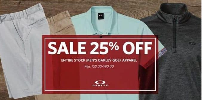 cb260142a7 Golf Galaxy Black Friday  Entire Stock Men s Oakley Golf Apparel - 25% Off