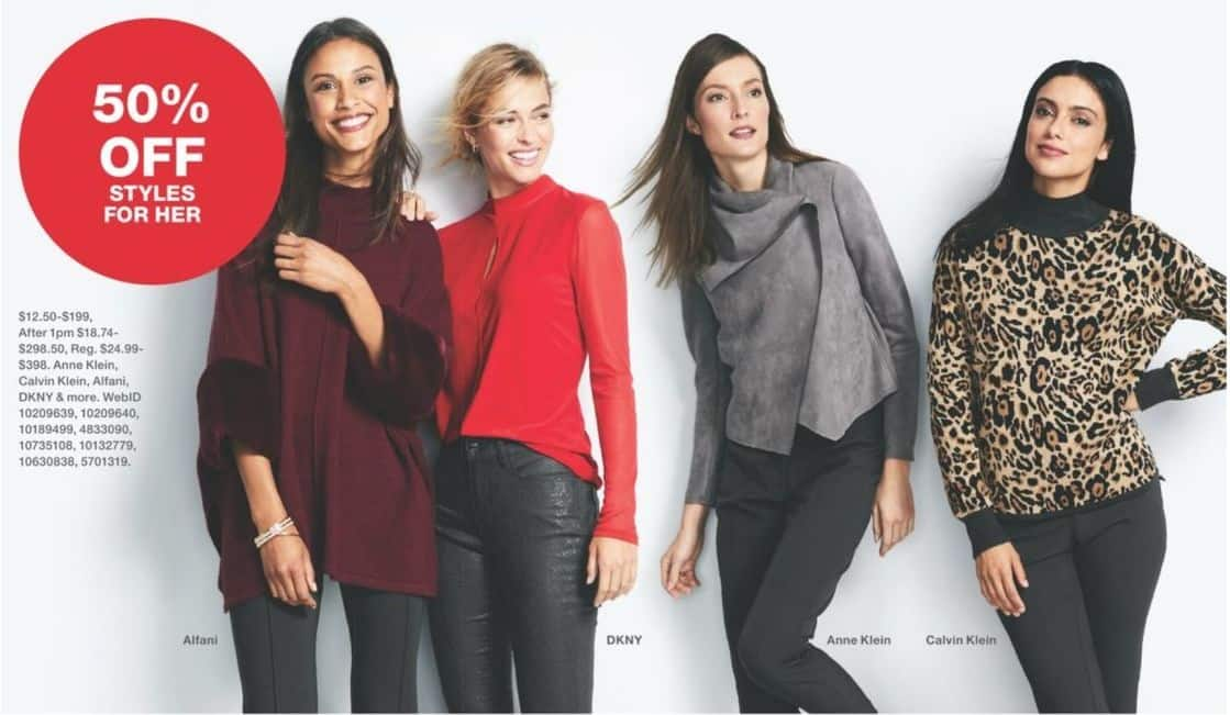 Macy's Black Friday: Select Styles for Her - 50% Off