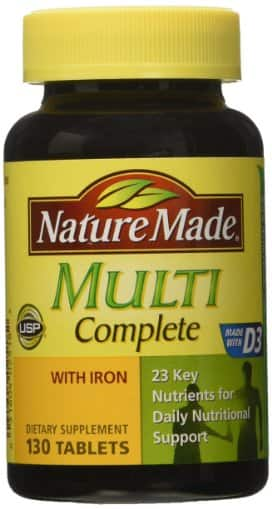 Nature Made Multi Complete with Iron 130 Tablets - $4.63 AC & S&S ($4.04 AC & 5 S&S Orders) + Free Shipping - Amazon