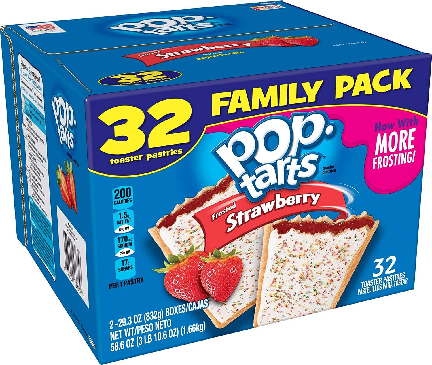 32 Count Box Pop-Tarts Breakfast Toaster Pastries- Frosted Strawberry - $5.97 AC & S&S (or One-Time) $5.17 AC & 5 S&S Orders) - Amazon