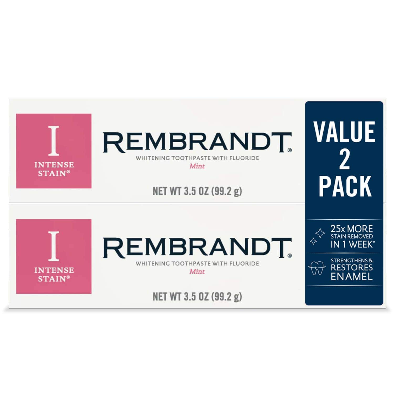 2 Count 3.5 Ounce Tubes Rembrandt Rembrandt Intense Stain Whitening Toothpaste Mint Flavor - $6.91 AC & S&S ($5.97 AC & 5 S&S Orders) - Amazon