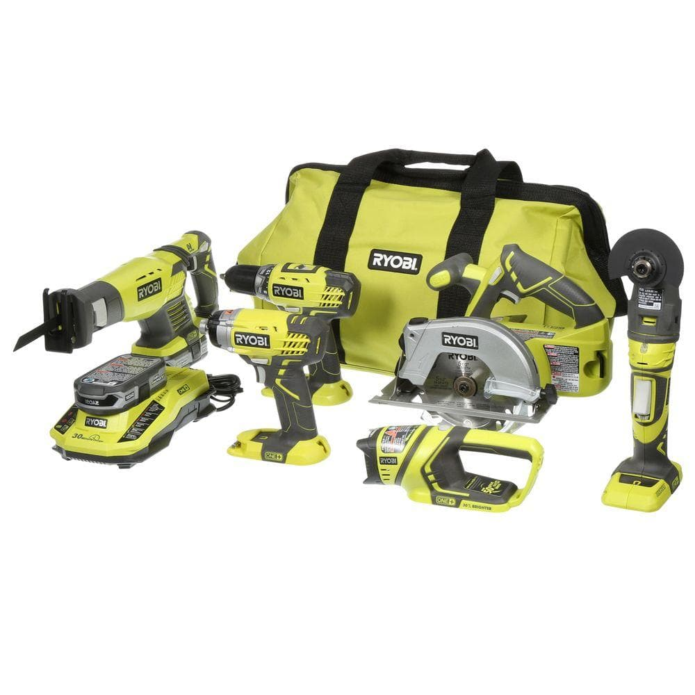 Ryobi 18-Volt ONE+ Lithium-Ion Ultimate Combo Kit (6-Tool) $199 HD