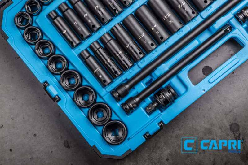 "Capri Tools 1/2"" drive master impact socket set (comes with snap ring plier set) $229.99"