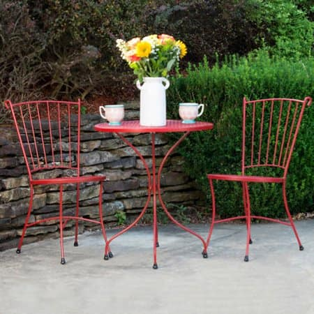 Red Wrought Iron Patio Bistro Set 49 Ymmv