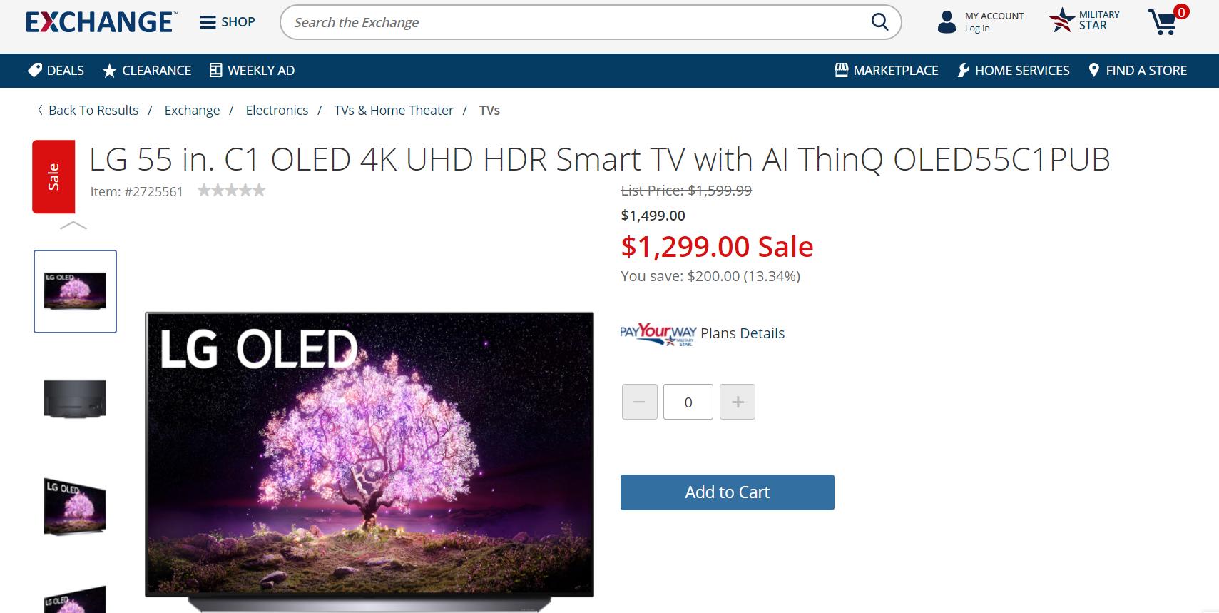 """AAFES Members:  LG 55"""" & 65"""" C1 OLED 4K HDR Smart TV with ThinQ OLED55C1PUB & OLED65C1PUB $1299 & $1899 no tax & FS"""