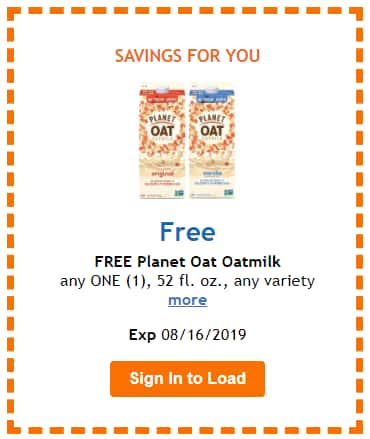 KROGER - Enjoy this free offer for delicious Planet Oat Oatmilk by August 2! It's free from dairy, gluten, soy and peanuts!