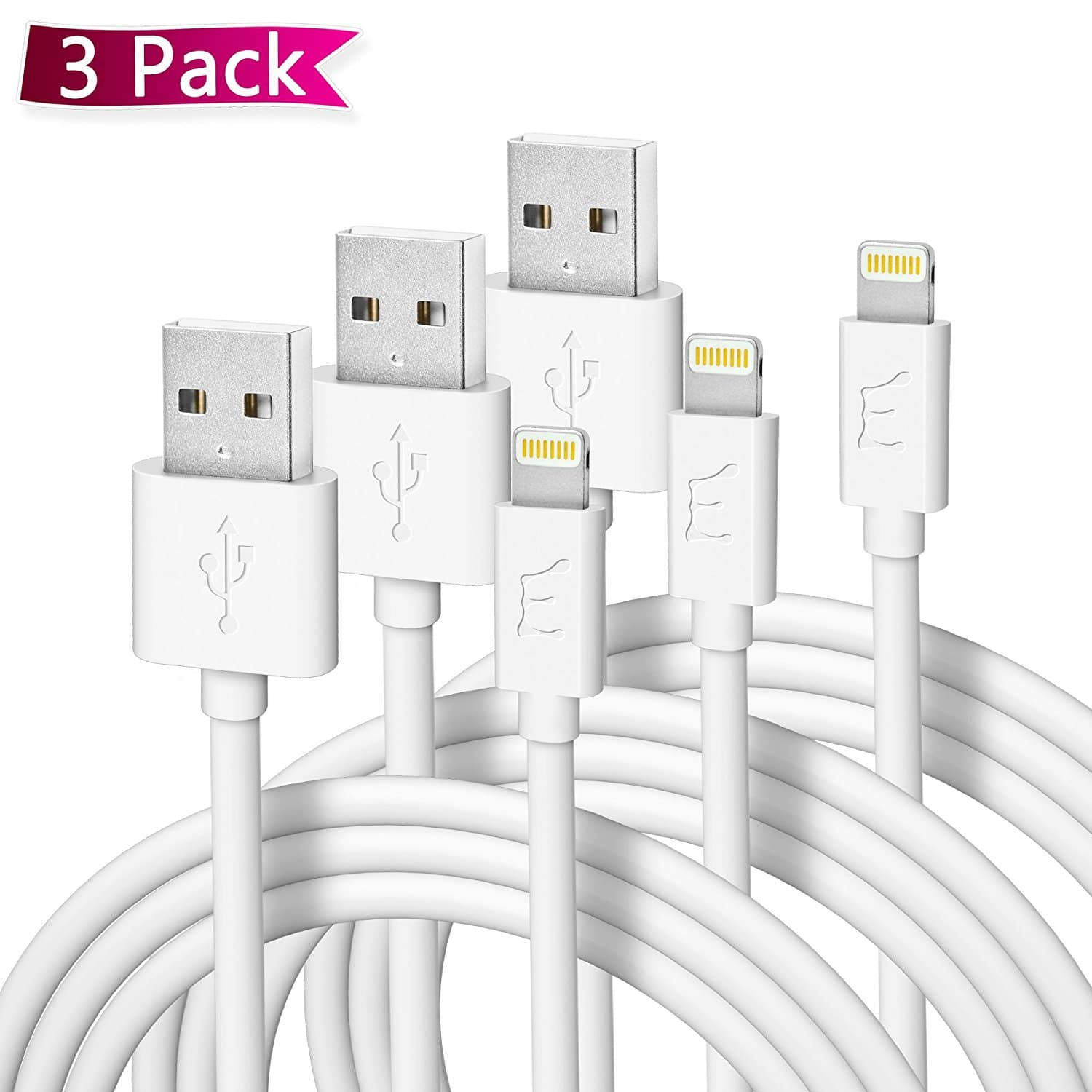 6' Apple MFI-Certified Lightning Charging Cable X3 Pack $9.99