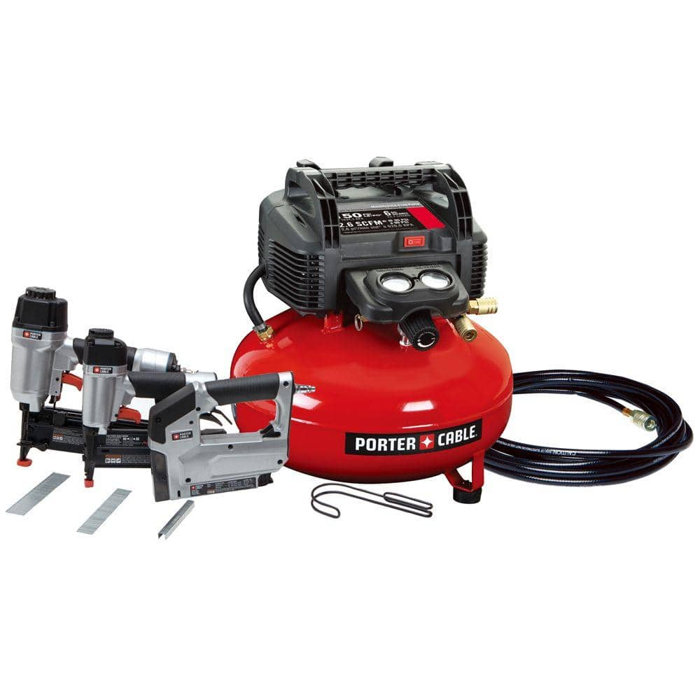 6 Gal. Portable Air Compressor, 16-Gauge Nailer, 18-Gauge Brad Nailer Crown Stapler Combo Kit for $199 +FREE in-store pickup