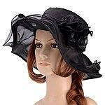 Women's Summer Flat Large Wide Brim Gauze Kentucky Derby Sun Hat $6.99 + fs @amazon.com