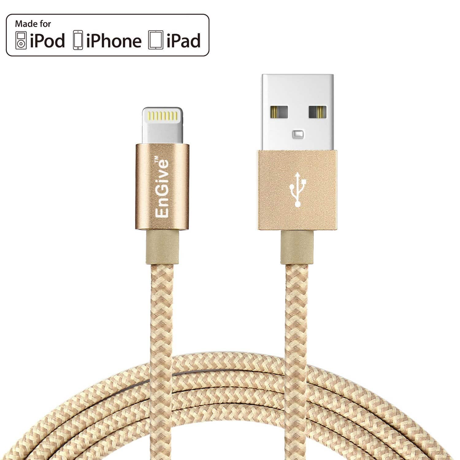 Engive 6.6 FT Nylon Braided MFi Lightning Cable - Gold - $3.01 + FS W/ Prime