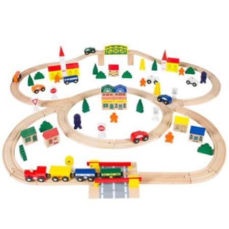 100pc Hand Crafted Wooden Train Set Triple Loop Railway Wood Track 34.94 Free Shipping Walmart