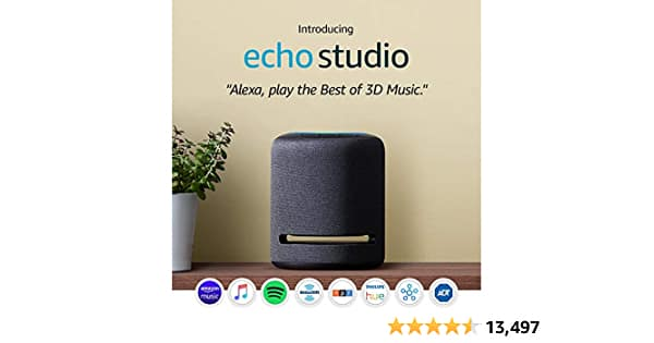 Echo Studio – High-fidelity smart speaker with Philips Hue Bulbs – Alexa smart home starter kit $160