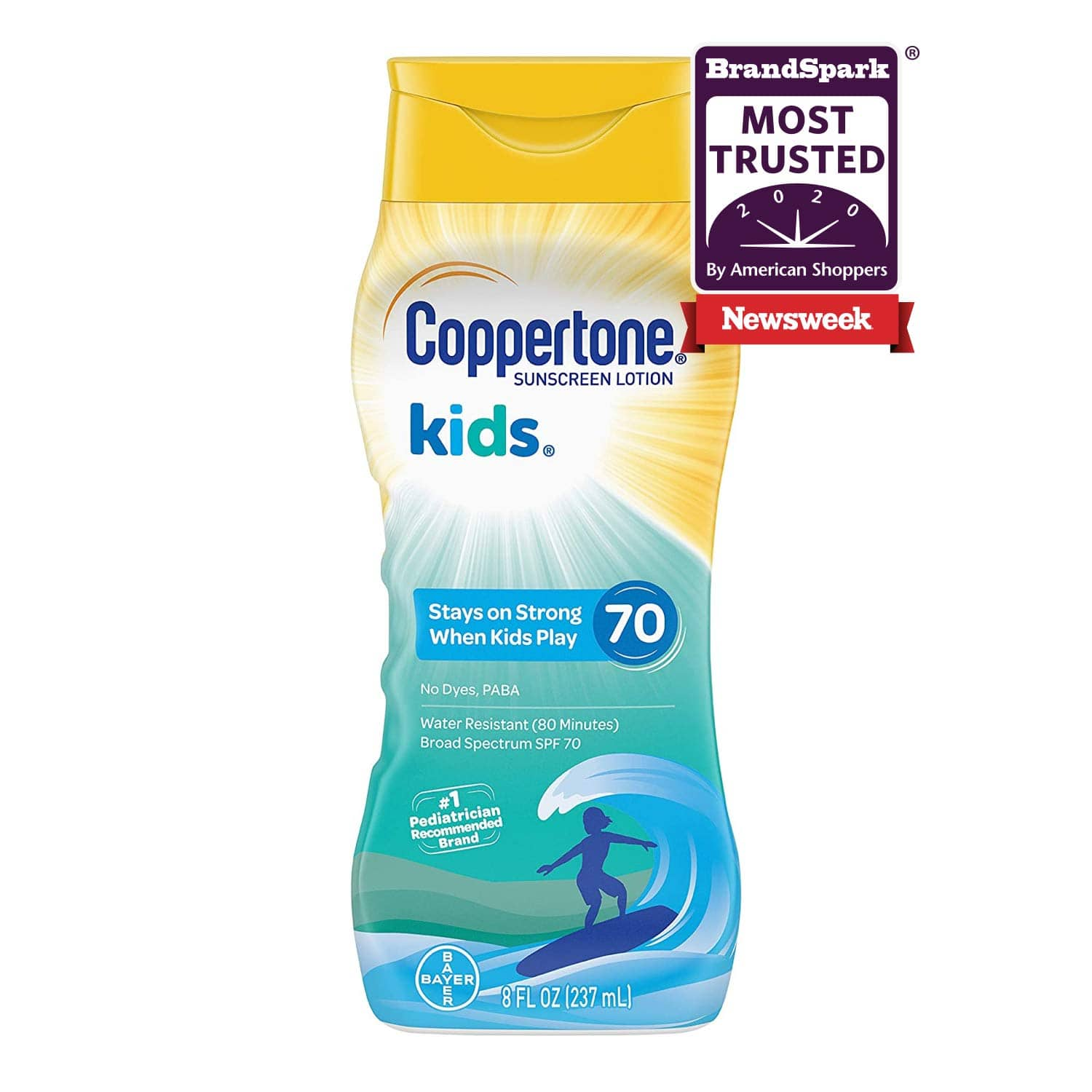 Coppertone KIDS Water-Resistant Sunscreen Lotion Broad Spectrum SPF 70 8 oz. $6 at Amazon
